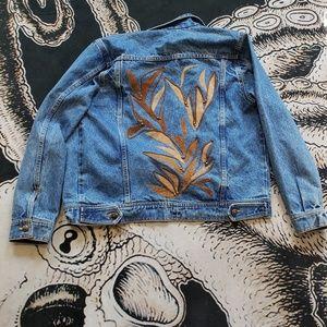 Southwestern suede jean jacket L boho